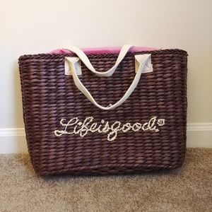Life is Good Cinch Lining Straw Tote